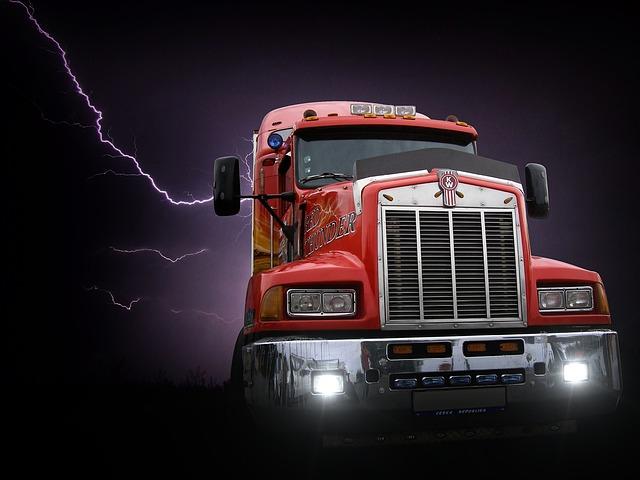 blesk za kamionem