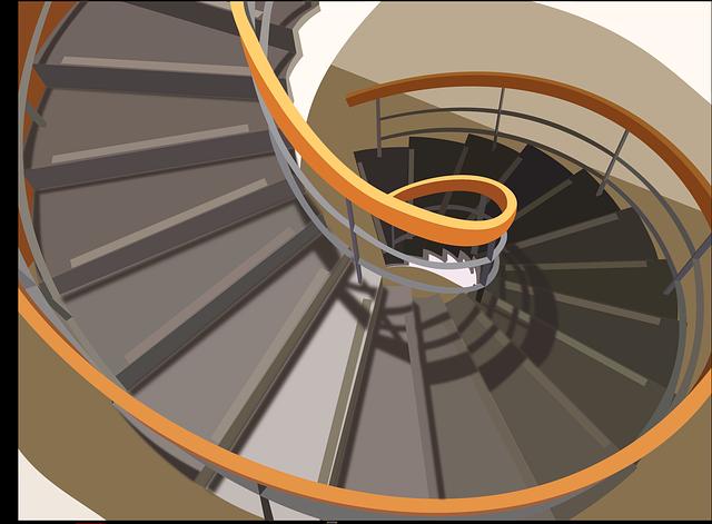 ilustrace točitého schodiště
